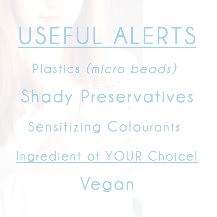 Useful alerts on the Cosmethics skincare application for android and iPhone