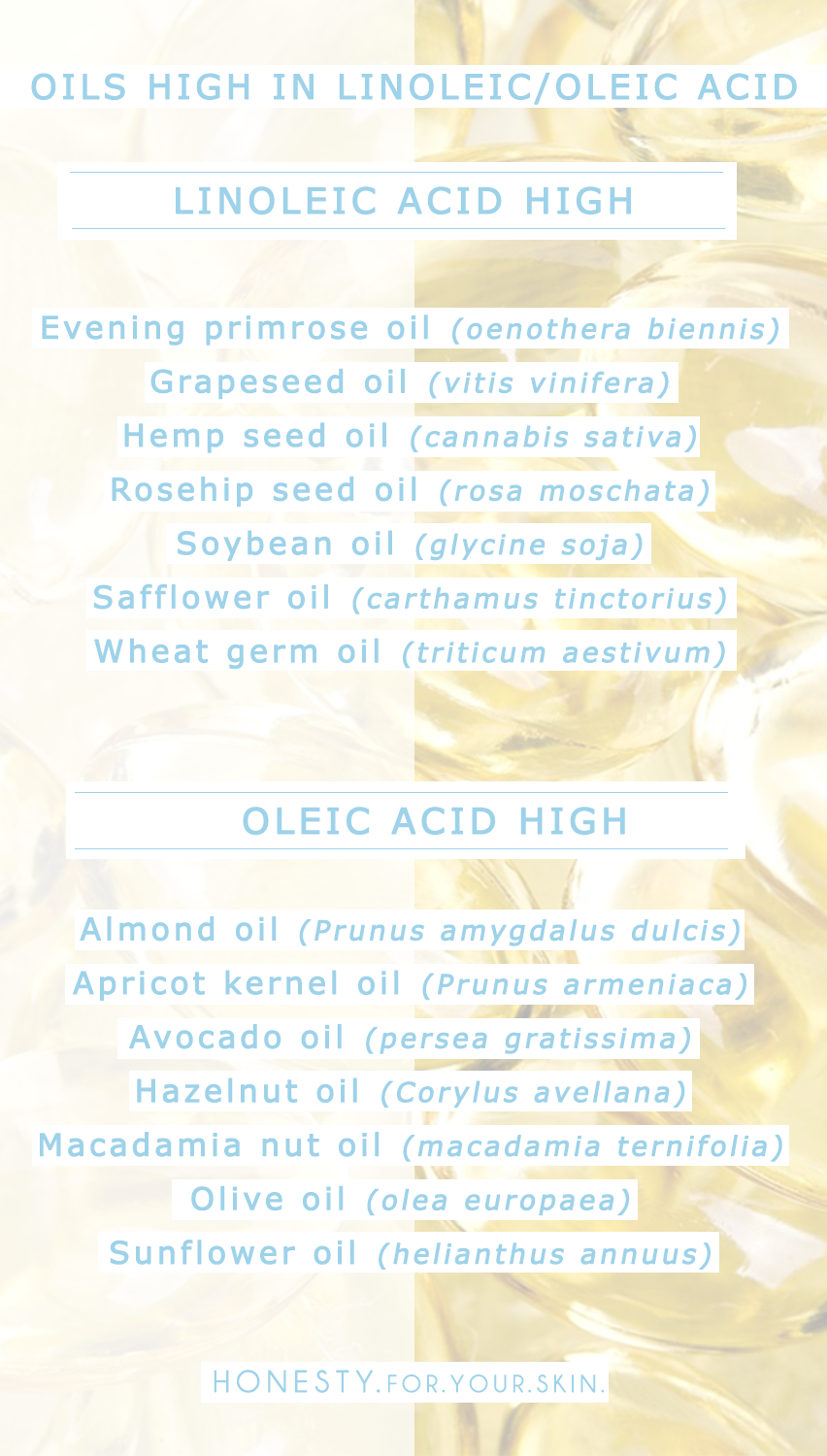 Oils high in Linoleic acid are great for spot and acne prone skin, this list of oils are the ones to look out for PLUS i wouldnt just leave you there, theres also a trusty list of the ones to avoid.