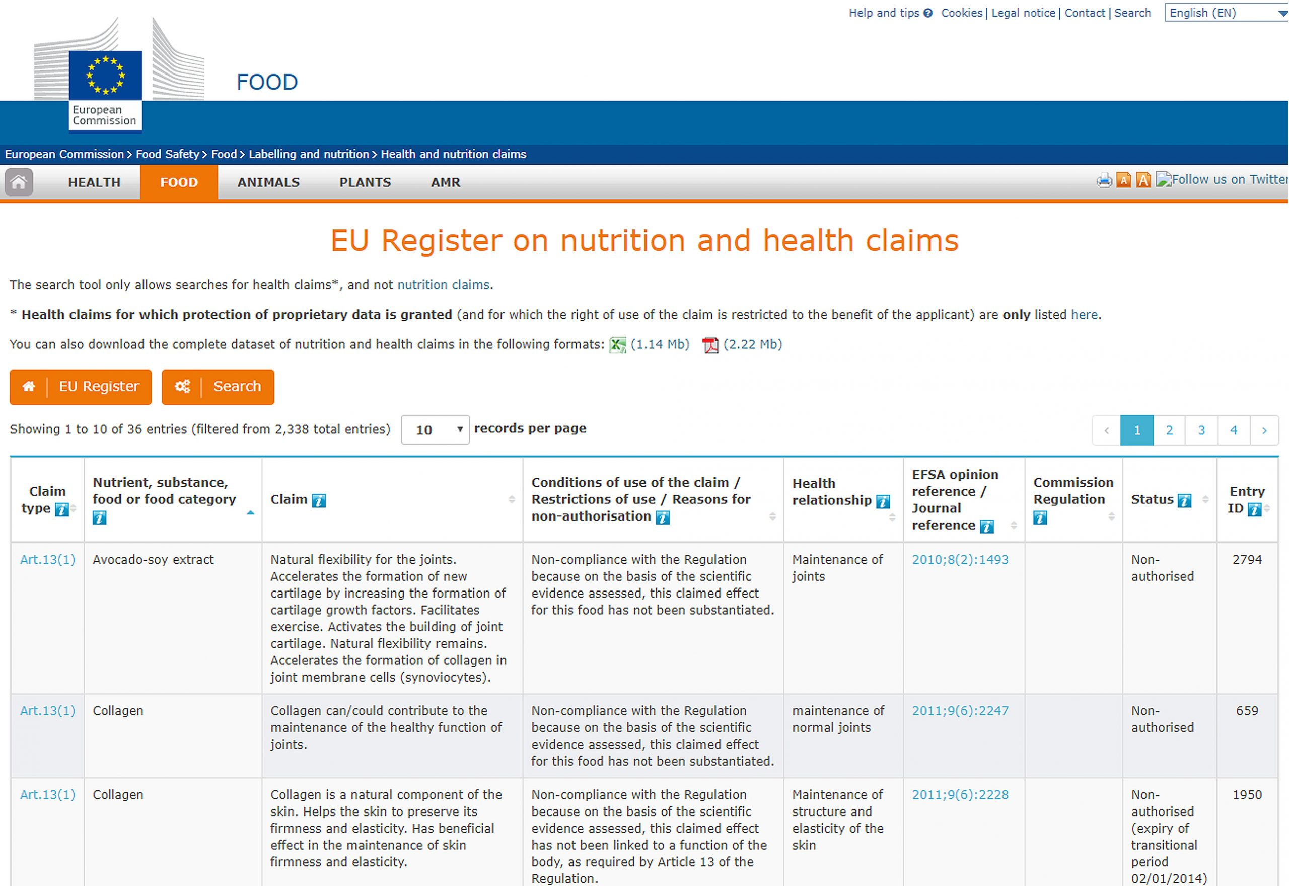 Here's an example list of collagen effects on skin by EU nutrition and health claims database.